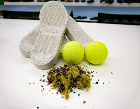 Did you know that there are already shoe soles made from worn tennis balls?